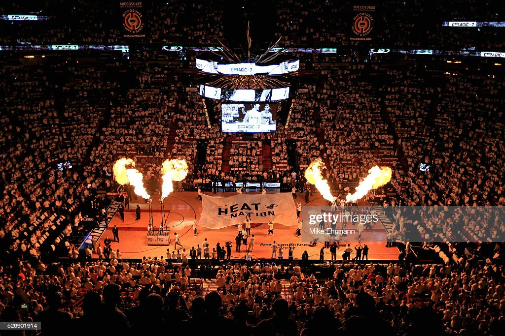 A gerneral view of American Airlines Arena during Game Seven of the Eastern Conference Quarterfinals of the 2016 NBA Playoffs between the Miami Heat and the Charlotte Hornets on May 1, 2016 in Miami, Florida.