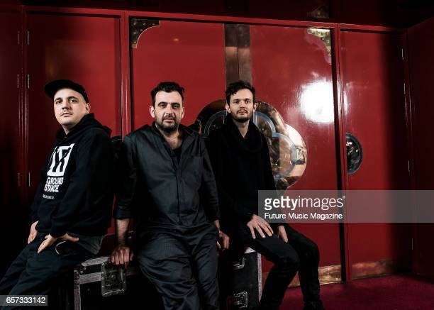 Gernot Bronsert Sebastian Szary and Sascha Ring of German electronica group Moderat photographed before a live performance at Brighton Dome in...