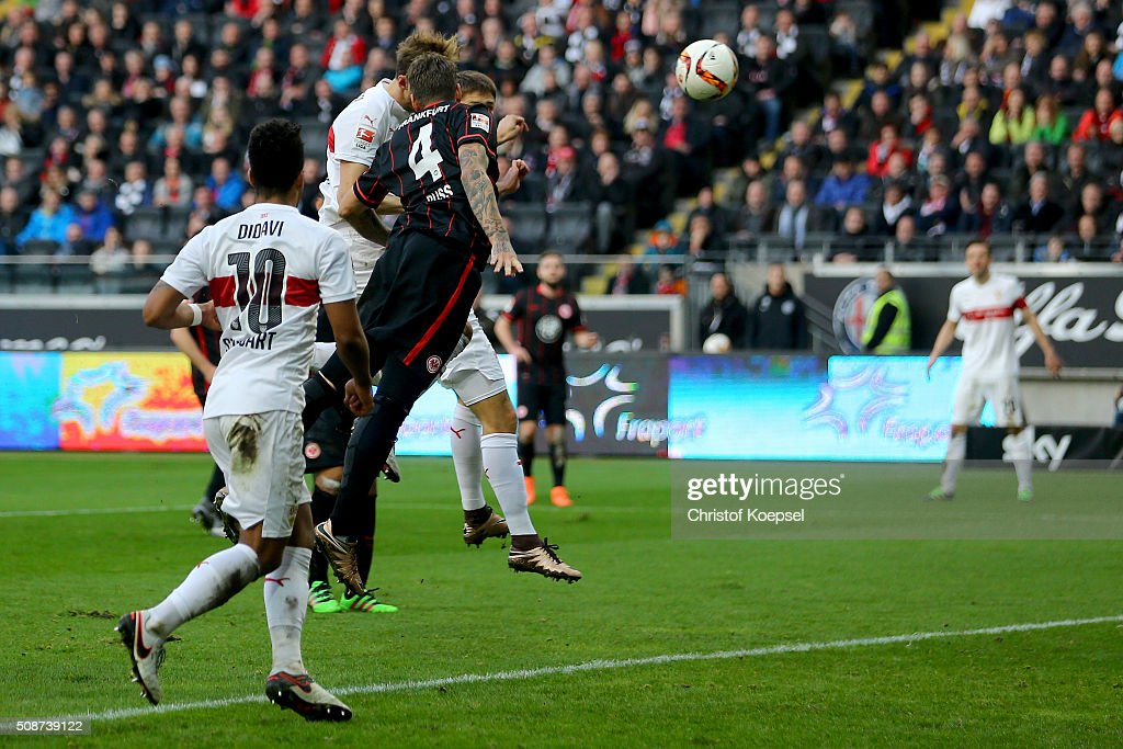 Gerog Niedermeier of Stuttgart (hidden) scores the thrid goal during the Bundesliga match between Eintracht Frankfurt and VfB Stuttgart at Commerzbank-Arena on February 6, 2016 in Frankfurt am Main, Germany.