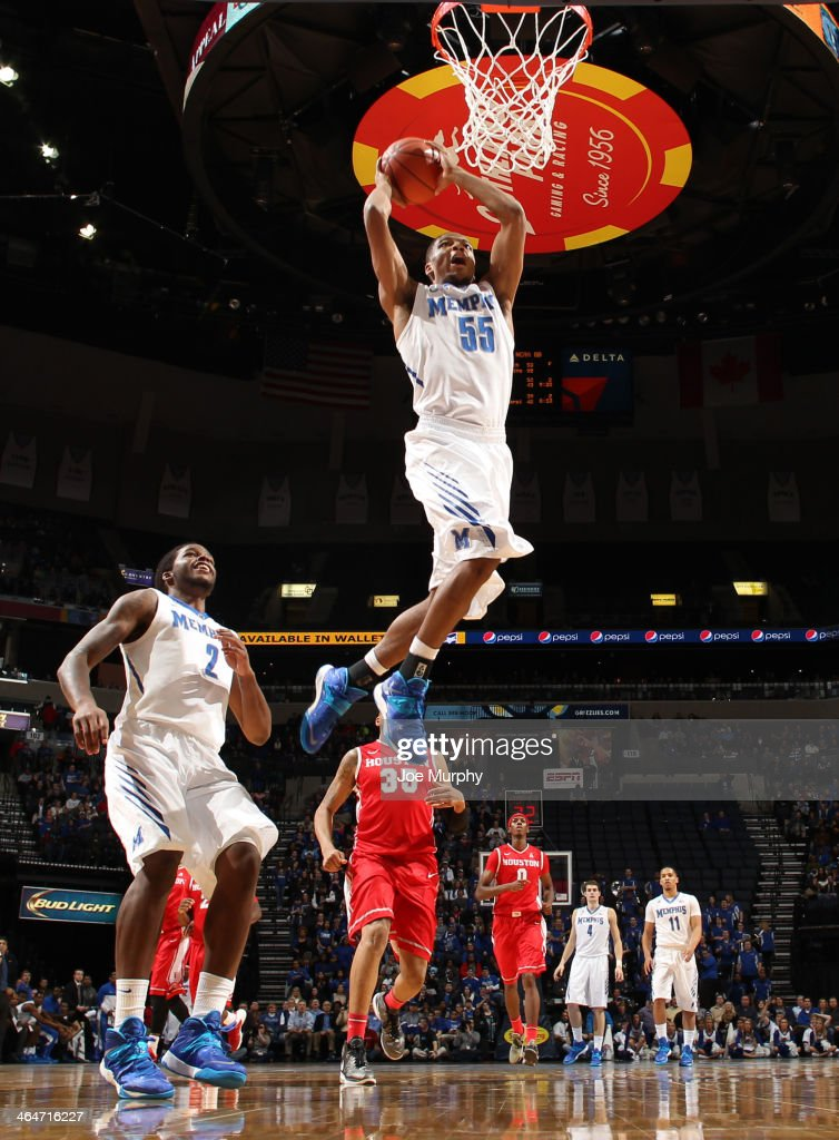 Geron Johnson #55 of the Memphis Tigers dunks the ball against the Houston Cougars on January 23, 2014 at FedExForum in Memphis, Tennessee. Memphis beat Houston 82-59.
