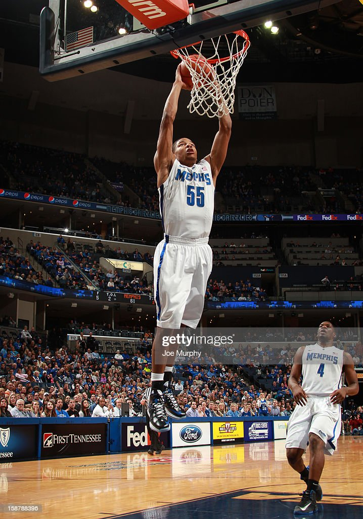 Geron Johnson #55 of the Memphis Tigers dunks the ball against the Oral Roberts Golden Eagles on December 28, 2012 at FedExForum in Memphis, Tennessee.