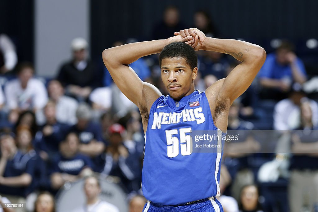 Geron Johnson #55 of the Memphis Tigers reacts during the game against the Xavier Musketeers at Cintas Center on February 26, 2013 in Cincinnati, Ohio. Xavier defeated Memphis 64-62.