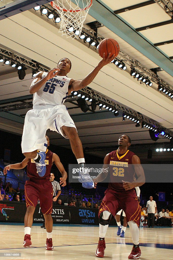 Geron Johnson #55 of the Memphis Tigers shoots against the Minnesota Gophers during the Battle 4 Atlantis tournament at Atlantis Resort November 23, 2012 in Nassau, Paradise Island, Bahamas.