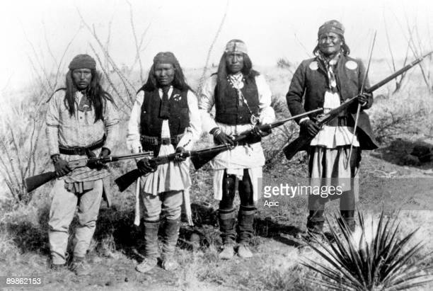 Geronimo Apache Indian chief with his men in the years 1890 Apache indian chief here with his men in the 1890's