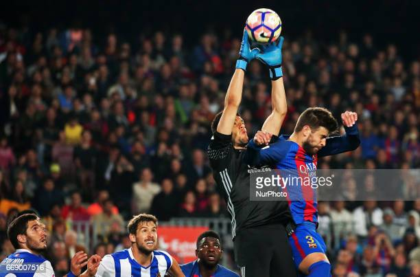 Geronimo Rulli and Gerard Pique during La Liga match between FC Barcelona v Alaves during the La Liga match between FC Barcelona and Real Sociedad de...