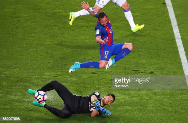 Geronimo Rulli and Pablo Alcacer during La Liga match between FC Barcelona v Alaves during the La Liga match between FC Barcelona and Real Sociedad...