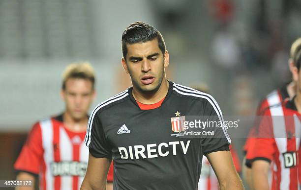 Geronimo Rulli leaves the field after a defeating during a match between Estudiantes and Racing Club as part of Torneo de Transicion 2014 at Ciudad...