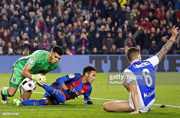 Geronimo Rulli Neymar Jr and Inigo Martinez during the 1/4 final King Cup match between FC Barcelona v Real Sociedad in Barcelona on January 26 2017