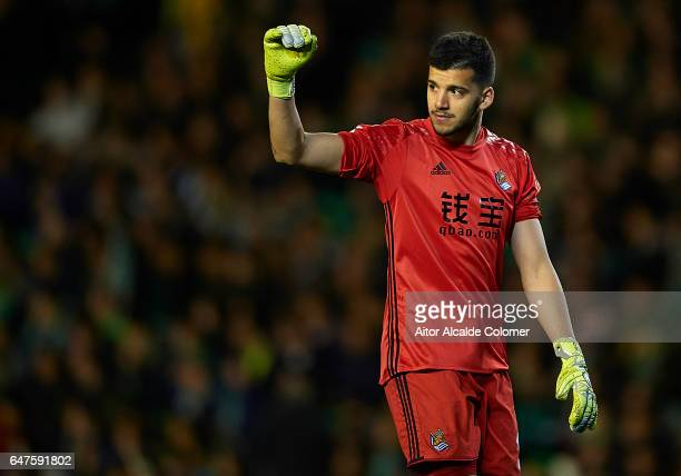 Geronimo Rulli of Real Sociedad celebrates after scoring Jon Bautista of Real Sociedad during La Liga match between Real Betis Balompie and Real...