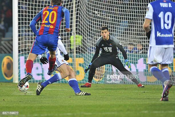 Geronimo Rulli of Real Sociedad during the Spanish Kings Cup round of 1/4 finals first leg football match between Real Sociedad and Barcelona at the...