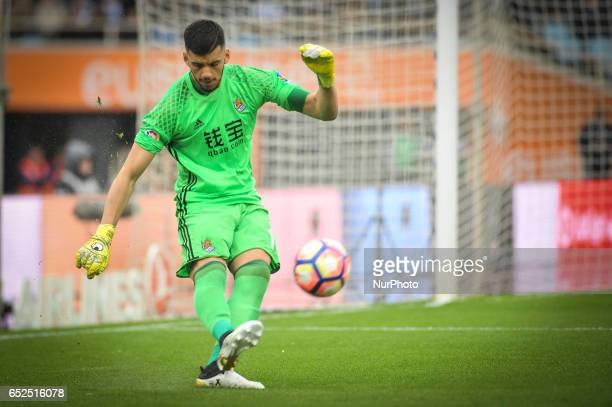 Geronimo Rulli of Real Sociedad during the Spanish league football match between Real Sociedad and Atlhetic Club at the Anoeta Stadium in San...