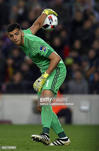 Geronimo Rulli of Real Sociedad in action during the Copa del Rey quarterfinal second leg match between FC Barcelona and Real Sociedad at Camp Nou on...