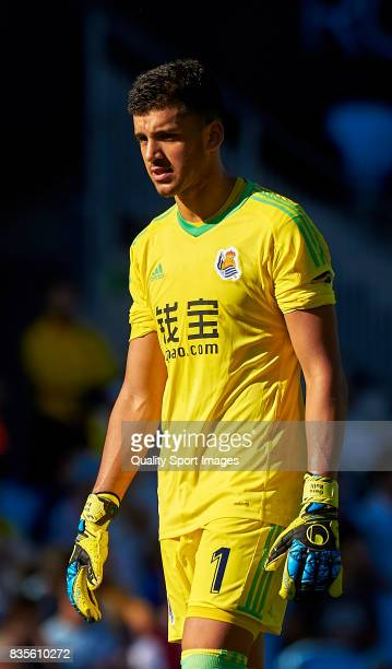 Geronimo Rulli of Real Sociedad looks on during the La Liga match between Celta de Vigo and Real Sociedad at Balaidos Stadium on August 19 2017 in...