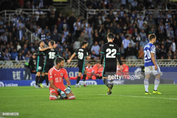 Geronimo Rulli of Real Sociedad reacts after scoring Asensio of Real Madrid during the Spanish league football match between Real Sociedad and Real...