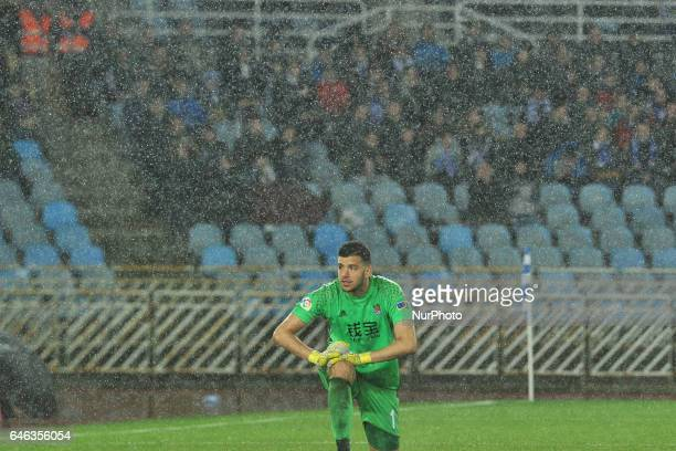 Geronimo Rulli of Real Sociedad reacts during the Spanish league football match between Real Sociedad and Eibar at the Anoeta Stadium in San...