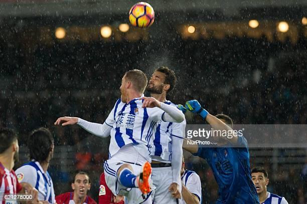 Geronimo Rulli Willian Jose and Zurutuza of Real Sociedad during the Spanish league football match between Real Sociedad and Atletico Madrid at the...