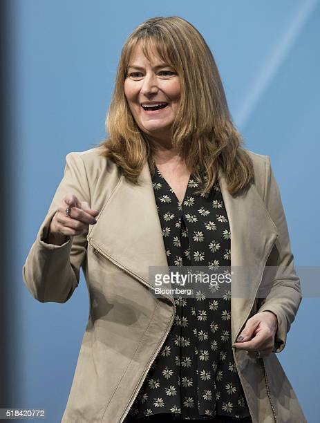 Gerri MartinFlickinger chief technology officer at Starbucks Corp speaks during a keynote session at the Microsoft Developers Build Conference in San...
