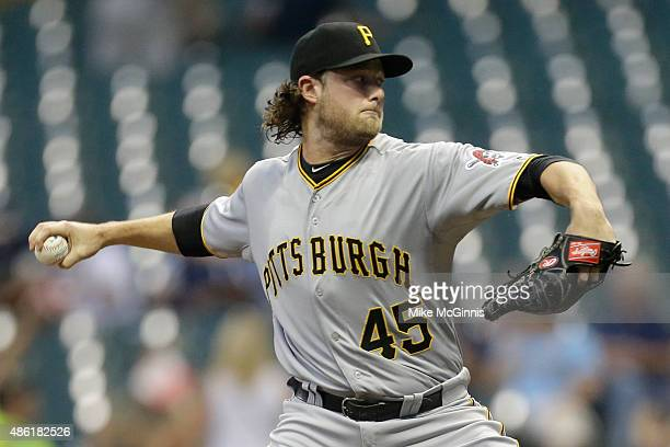 Gerrit Cole of Pittsburgh Pirates pitches during the first inning against the Milwaukee Brewers at Miller Park on September 01 2015 in Milwaukee...