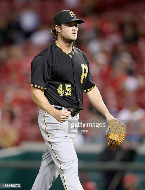 Gerrit Cole of the Pittsburgh Pirates celebrates after the end of the third inning after getting Joey Votto of the Cincinnati Reds out at Great...