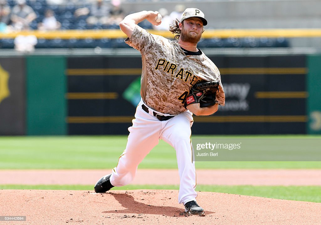 <a gi-track='captionPersonalityLinkClicked' href=/galleries/search?phrase=Gerrit+Cole&family=editorial&specificpeople=7072350 ng-click='$event.stopPropagation()'>Gerrit Cole</a> #45 of the Pittsburgh Pirates delivers a pitch in the first inning during the game against the Arizona Diamondbacks at PNC Park on May 26, 2016 in Pittsburgh, Pennsylvania.