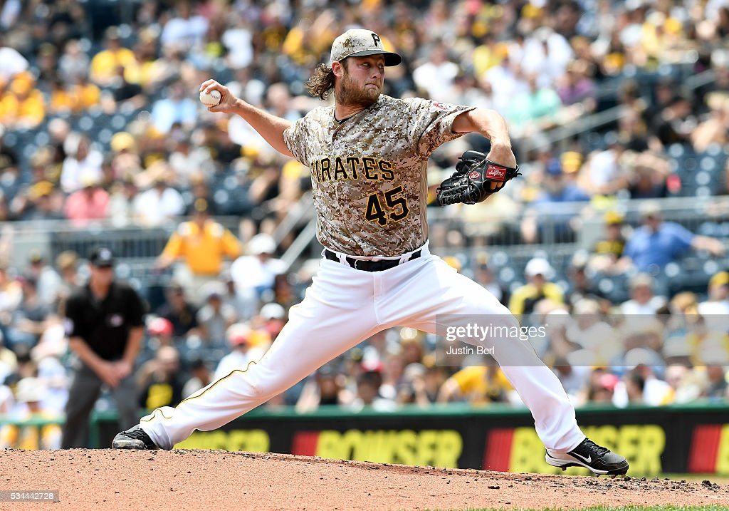<a gi-track='captionPersonalityLinkClicked' href=/galleries/search?phrase=Gerrit+Cole&family=editorial&specificpeople=7072350 ng-click='$event.stopPropagation()'>Gerrit Cole</a> #45 of the Pittsburgh Pirates delivers a pitch in the second inning during the game against the Arizona Diamondbacks at PNC Park on May 26, 2016 in Pittsburgh, Pennsylvania.