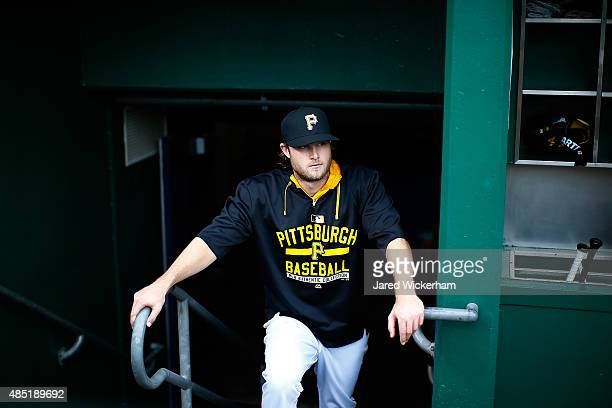 Gerrit Cole of the Pittsburgh Pirates in action against the Arizona Diamondbacks during the game at PNC Park on August 18 2015 in Pittsburgh...