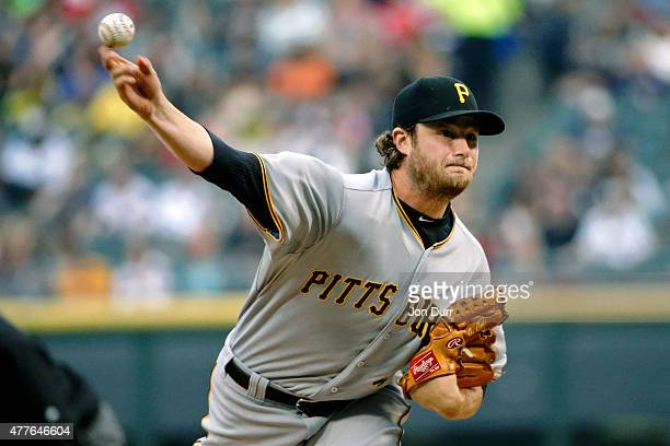 Gerrit Cole of the Pittsburgh Pirates pitches against the Chicago White Sox during the first inning at US Cellular Field on June 18 2015 in Chicago...