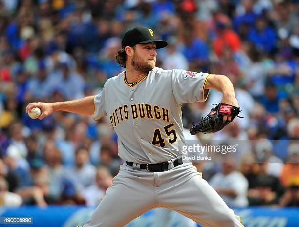 Gerrit Cole of the Pittsburgh Pirates pitches against the Chicago Cubs during the first inning on September 25 2015 at Wrigley Field in Chicago...