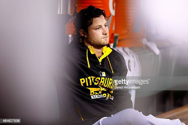 Gerrit Cole of the Pittsburgh Pirates pitches against the Los Angeles Dodgers at PNC Park on August 7 2015 in Pittsburgh Pennsylvania
