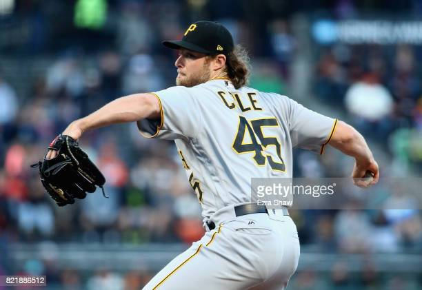 Gerrit Cole of the Pittsburgh Pirates pitches against the San Francisco Giants in the first inning at ATT Park on July 24 2017 in San Francisco...