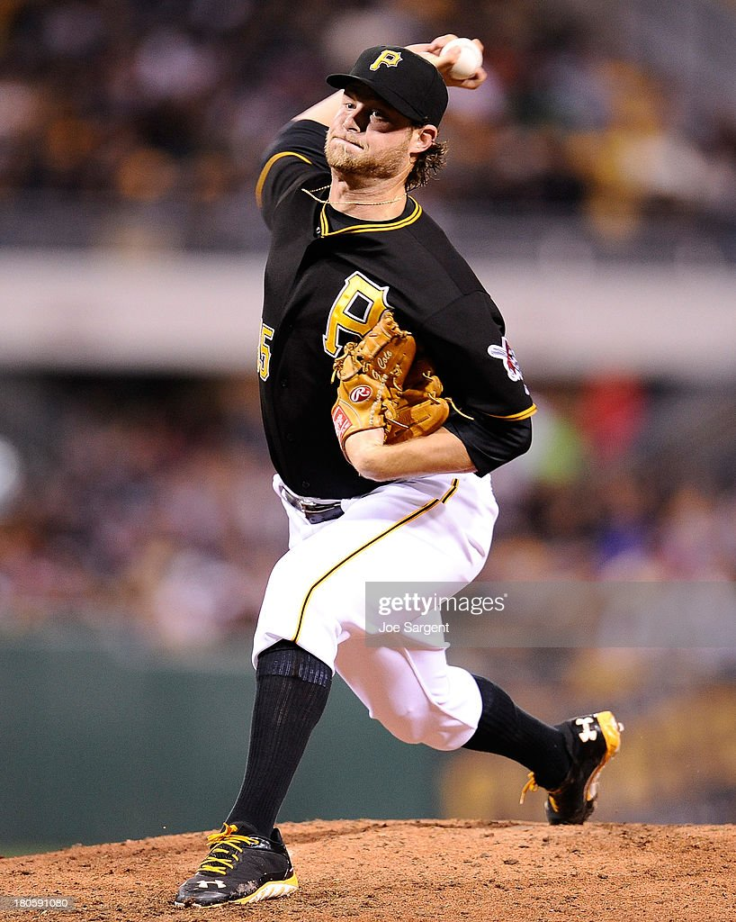 Gerrit Cole #45 of the Pittsburgh Pirates pitches during the fifth inning against the Chicago Cubs on September 14, 2013 at PNC Park in Pittsburgh, Pennsylvania.