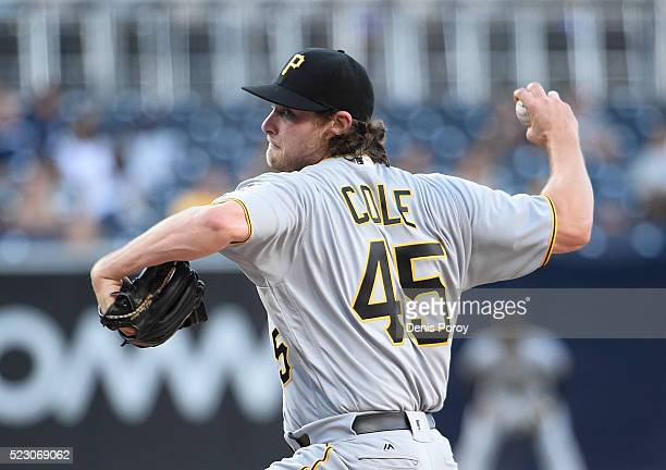Gerrit Cole of the Pittsburgh Pirates pitches during the first inning of a baseball game against the San Diego Padres at PETCO Park on April 21 2016...