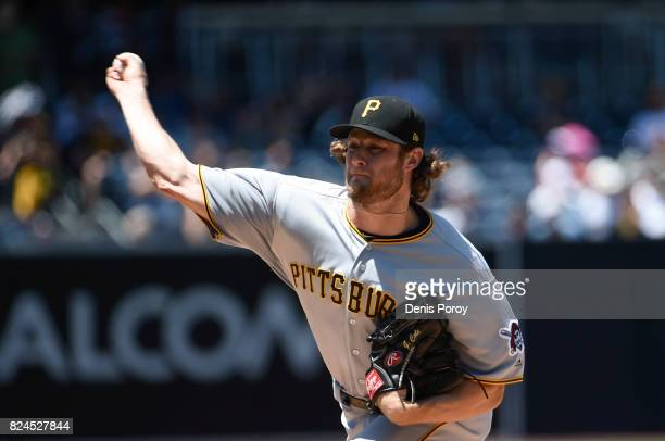 Gerrit Cole of the Pittsburgh Pirates pitches during the first inning of a baseball game against the San Diego Padres at PETCO Park on July 30 2017...