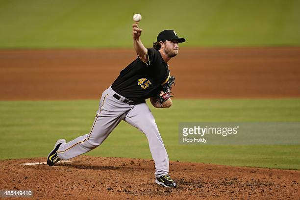 Gerrit Cole of the Pittsburgh Pirates pitches during the fourth inning of the game against the Miami Marlins at Marlins Park on August 27 2015 in...