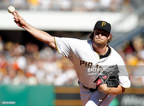 Gerrit Cole of the Pittsburgh Pirates pitches during the game against the San Francisco Giants at PNC Park on August 22 2015 in Pittsburgh...