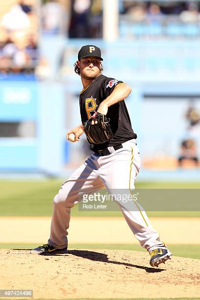 Gerrit Cole of the Pittsburgh Pirates pitches during the game against the Los Angeles Dodgers at Dodger Stadium on September 20 2015 in Los Angeles...