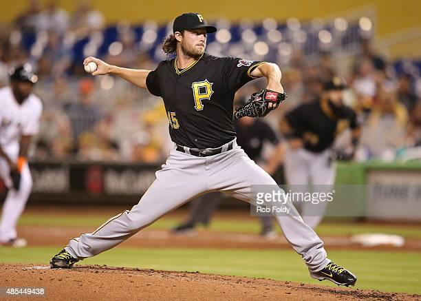 Gerrit Cole of the Pittsburgh Pirates pitches during the second inning of the game against the Miami Marlins at Marlins Park on August 27 2015 in...
