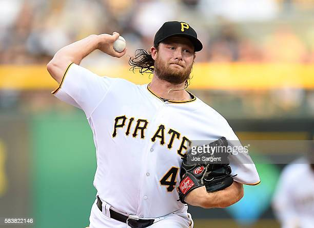 Gerrit Cole of the Pittsburgh Pirates pitches during the second inning during interleague play against the Seattle Mariners on July 27 2016 at PNC...