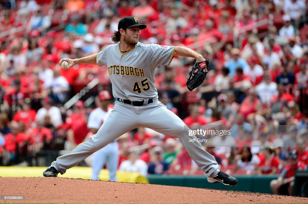 Gerrit Cole #45 of the Pittsburgh Pirates pitches during the second inning against the St. Louis Cardinals at Busch Stadium on April 19, 2017 in St Louis, Missouri.