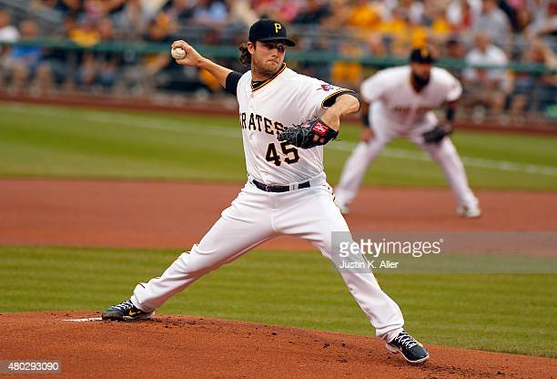 Gerrit Cole of the Pittsburgh Pirates pitches in the first inning during the game against the St Louis Cardinals at PNC Park on July 10 2015 in...