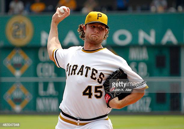 Gerrit Cole of the Pittsburgh Pirates pitches in the first inning during the game against the Washington Nationals at PNC Park on July 26 2015 in...