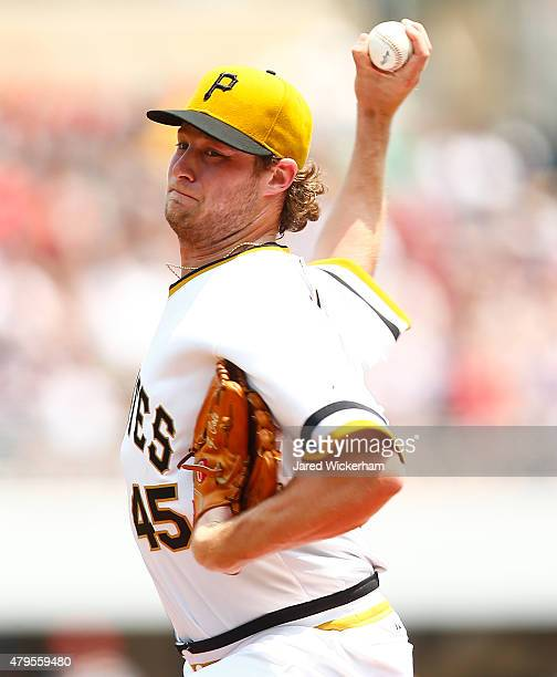 Gerrit Cole of the Pittsburgh Pirates pitches in the second inning against the Cleveland Indians during the game at PNC Park on July 5 2015 in...