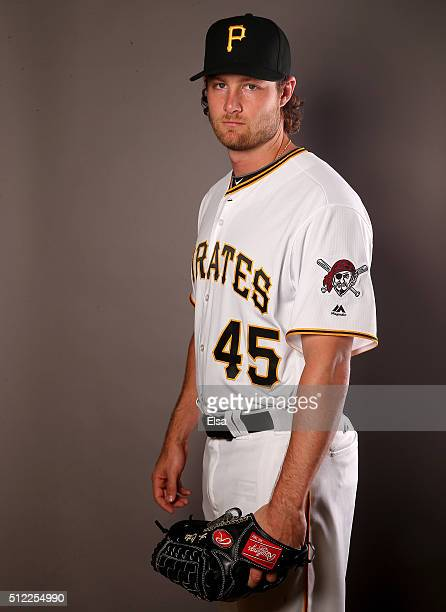 Gerrit Cole of the Pittsburgh Pirates poses for a portrait on February 25 2016 at Pirate City in Bradenton Florida