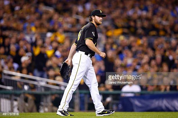 Gerrit Cole of the Pittsburgh Pirates reacts after throwing out Starlin Castro of the Chicago Cubs at first base in the first inning during the...