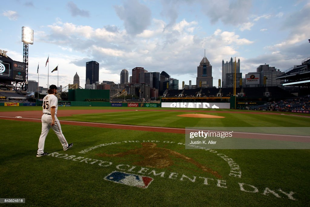 Gerrit Cole #45 of the Pittsburgh Pirates takes the field on Roberto Clemente day at PNC Park on September 6, 2017 in Pittsburgh, Pennsylvania.