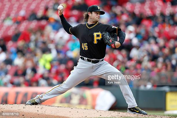 Gerrit Cole of the Pittsburgh Pirates throws a pitch during the second inning of the game against the Cincinnati Reds at Great American Ball Park on...