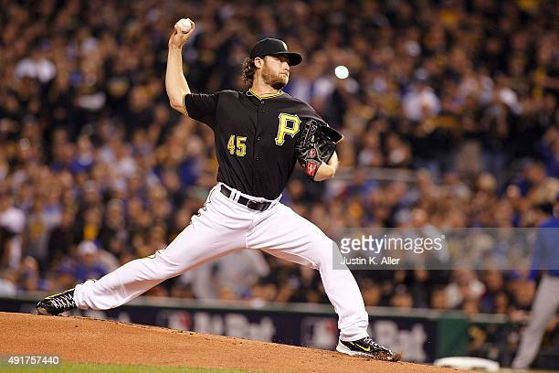 Gerrit Cole of the Pittsburgh Pirates throws a pitch in the first inning during the National League Wild Card game against the Chicago Cubs at PNC...