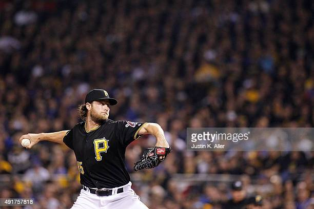 Gerrit Cole of the Pittsburgh Pirates throws a pitch in the third inning against the Chicago Cubs during the National League Wild Card game at PNC...