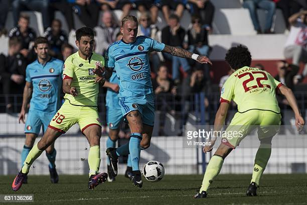 Gerrit Holtmann of 1 FSV Mainz 05 Rick Karsdorp of Feyenoord Andre Ramalho of 1 FSV Mainz 05during the friendly match between Feyenoord Rotterdam and...