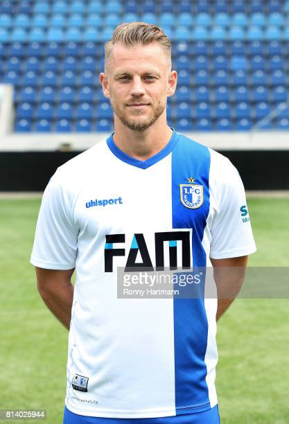 Gerrit Mueller poses during the team presentation of 1 FC Magdeburg at MDCCArena on July 13 2017 in Magdeburg Germany